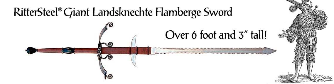 The Giant Great German Landsknechte Flamberge Sword